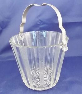Vintage Depression Clear Glass Ice Bucket Ribbed Panel Art Deco Metal Handle