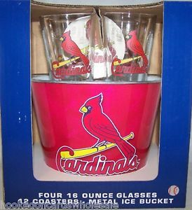 St Louis Cardinals Metal Ice Bucket 4 16oz Glasses 12 Coasters Tailgate Set
