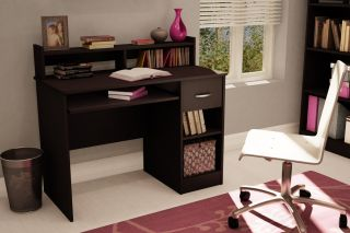 Computer Desk with Sliding Keyboard Tray Book Shelf Hutch Drawer Storage Shelves