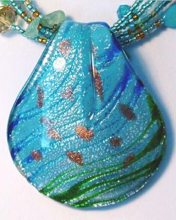 Blue Green Murano Glass 5 Strand Necklace Earring Set