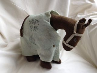 1920 1930's Vintage Spark Plug Horse Doll Stuffed Toy Barney Google with Blanket