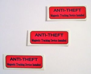 12 Anti Theft Warning Stickers Bulk Vending Labels