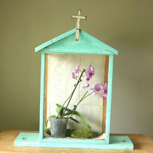 Antique Glass Terrarium Display Case Religious Shabby Chic Turquoise Blue Paint