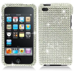 Silver Bling Diamond Hard Case Cover for Apple iPod Touch 4 4G 4th Gen Accessory