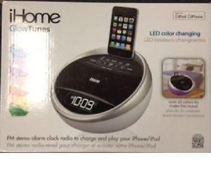 iHome IA17 Color Stereo FM Alarm Clock Radio iPod iPhone Speaker Dock Charger