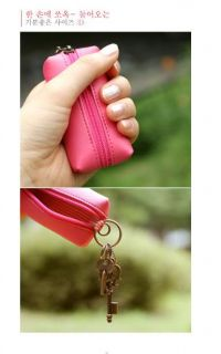 Pocket Coin Container Holder Pouch Small Zipper Bag Clip Key Chain Organizer
