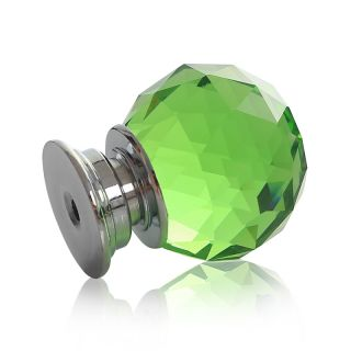 8x Green Crystal Glass Cut Door Knobs 30mm Drawer Cabinet Kitchen Handle Screw