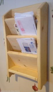 "18"" Mail Letter Rack Handcrafted Wood Organizer Key Holder Wall or Desk Clear"