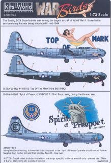 Kits World Decals 1 72 Boeing B 29 Superfortress WWII Korean War