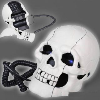 Skull Skeleton LED Cable Retro Home Telephone Phone Wht