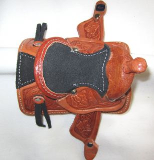 Western Miniature Horse Saddle Christmas Ornament Real Leather Natural New