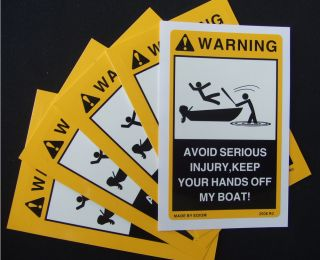 2pcs Warning Stickers for Your Fishing Pontoon Ranger Bass Boat Sea Ray Decals
