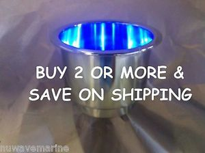 Seachoice Blue LED Light Stainless Steel Marine Boat Cup Drink Holder SCP 79371