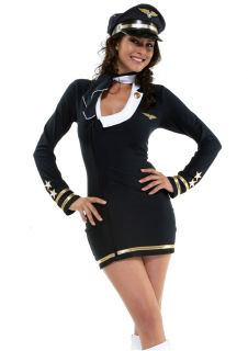 Navy Marine Flight Pilot Uniform Women Costume Dress Hat Halloween YSF11129