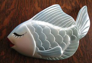 Large Vintage Chalkware Fish Wall Hanger Bathroom Mermaid Display