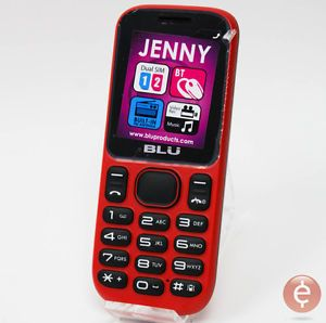 "Blu Jenny T172 Cell Phone Red GSM 1 8"" Dual Sim Bluetooth Unlocked"