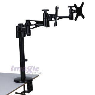 Quad LCD Monitor Desk Mount Stand Heavy Duty Fully Adjustable 2 Screen Up to 26""