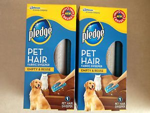 2 Pledge Pet Hair Fabric Sweeper Dog Cat Lint Roller Remover Empty Reuse