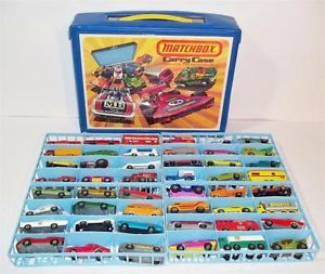 Vintage 1970's Matchbox Superfast 48 Car Case Lot w Vinyl Carry Case