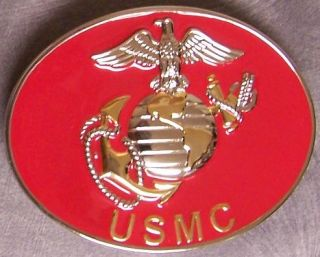 Military Pewter Belt Buckle United States Marine Corps Logo by Siskiyou New
