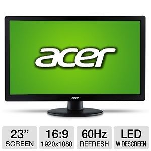 "23"" LED Acer s S230HL Abii 23"" Widescreen LED LCD Monitor Black 2 HDMI 1 VGA"