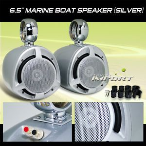 "6 5"" 2 Way Marine Poly Mica Woofer Boat Audio Stereo Tower Speakers Pair 200W"