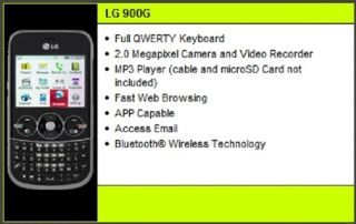 LG 900 Straight Talk 900G GSM Smartphone 3G World Blackberry Style Keys Warranty