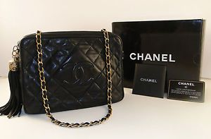 Authentic Chanel Black Leather Camera Bag