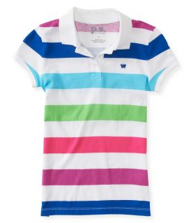 Aeropostale Kids PS Girls' Multicolored Stripe Jersey Polo Shirt