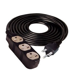 Hydrofarm Heavy Duty Extension Cord 25 ft 240V 14 Gauge Grounded 3 Outlet