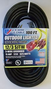 100' 12 Gauge Heavy Duty Extension Cord w Lighted End