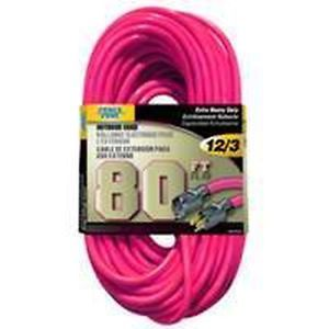 New 80ft 12 3 Pink Outdoor Quality Extension Cord Lawn