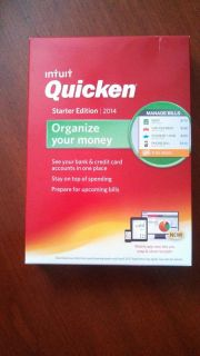 Brand New Factory SEALED Intuit Quicken Starter Edition 2014 for Windows 1 User
