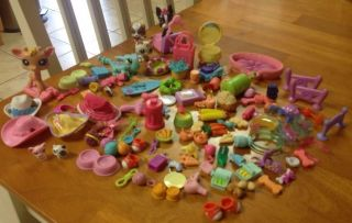 Littlest Pet Shop LPS Huge 100 Accessory Lot Food Toys Pets Tiniest Pets