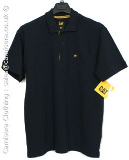 Caterpillar Cat Mens Polo Shirt Breathable Cotton Navy Blue Sizes s M L XL XXL