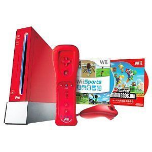 Nintendo Wii New Super Mario Bros Pack Red Console NTSC