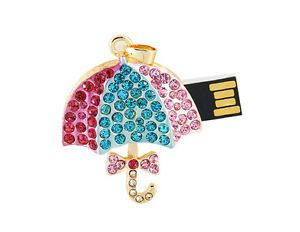 4GB 4G Swarovski Element Crystal Umbrella USB 2 0 Flash Drive Memory Stick