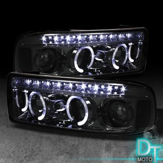 SMOKED 94 01 DODGE RAM HALO LED PROJECTOR HEADLIGHTS