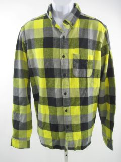 Designer Mens Multicolored Plaid Flannel Button Shirt L