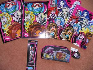 Monster High Girls School Supplies Folders Notebooks Pencils Pencil Case New