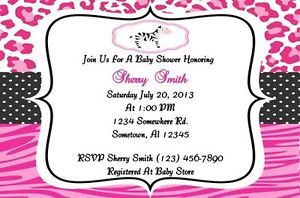 Pink Leopard Zebra Baby Shower Invitation Girl Personalized Digital Printable