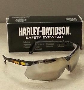 Harley Davidson Chrome Mirror Lens Black Frame Safety Glasses HD604