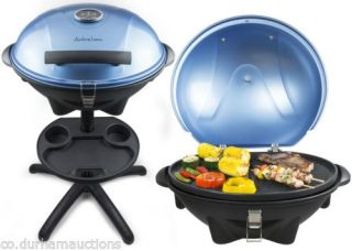 Andrew James Portable Blue Electric BBQ Grill Griddle Indoor Outdoor Camping