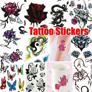 Temporary Tattoo Removable Stickers 4 Series Tiger Flower Dragon Butterfly