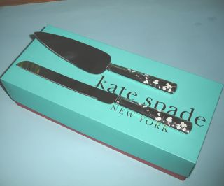 Kate Spade Gardner Street 2 PC Dessert Set Cake Knife Server Silverplated New