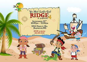 Jake and The Neverland Pirates Theme Printable Birthday Party Invitation Cards