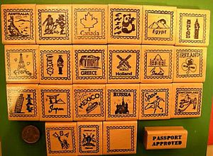 Country and Continent Passport Stamp Frame Rubber Stamps Wood Mounted