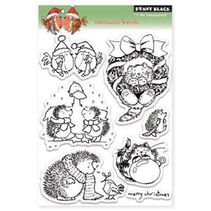 Christmas Friends Penny Black Clear Art Acrylic Stamps Stamping Craft Hedgehog