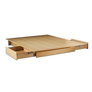 Full Size Modern Platform Bed Frame with 2 Under Bed Storage Drawers in Maple