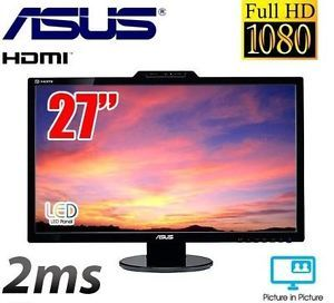 "27"" LED 2ms w Webcam Asus VK VK278Q LCD Monitor Speakers Pip DisplayPort"